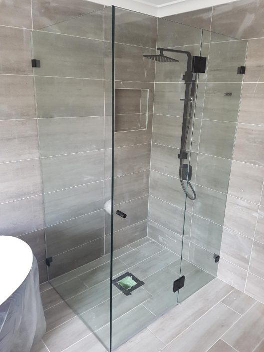 Black Frameless Shower Screens